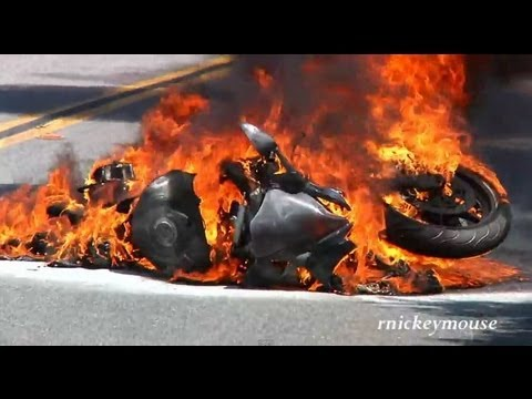 Watch For Motorcycles >> Motorcycle Crash & Burn on Mulholland - YouTube