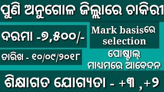 Job in angul//Qualification-Graduatuation&plus 2//Odisha latest job updates