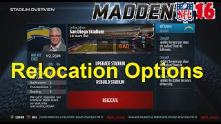Madden NFL 16 Franchise Relocation Options in CFM (Xbox One)