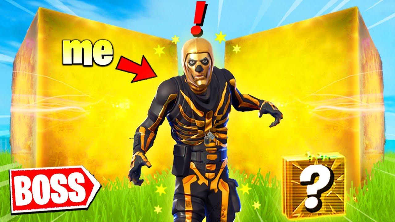 Fortnite except i'm BOSS Gold Skull Trooper