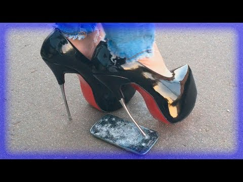 Metal high heels crush phone