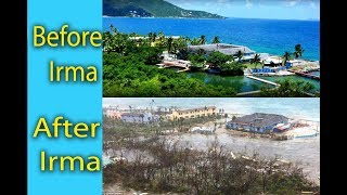 Tortola, British Virgin Islands, before and after Hurricane Irma , category 5 Hurricane in Road town