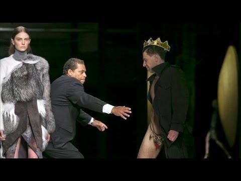 Streaker Crashes Catwalk at New York Fashion Week