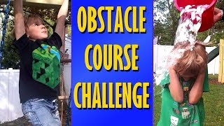 Kids Obstacle Course Challenge with Disgusting Food - SuperTwins TV