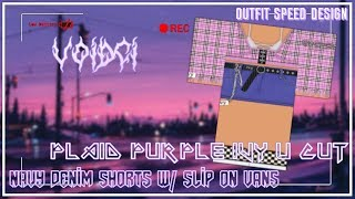 ROBLOX Speed Design: Plaid purple U cut top x Navy shorts // VOIDCI