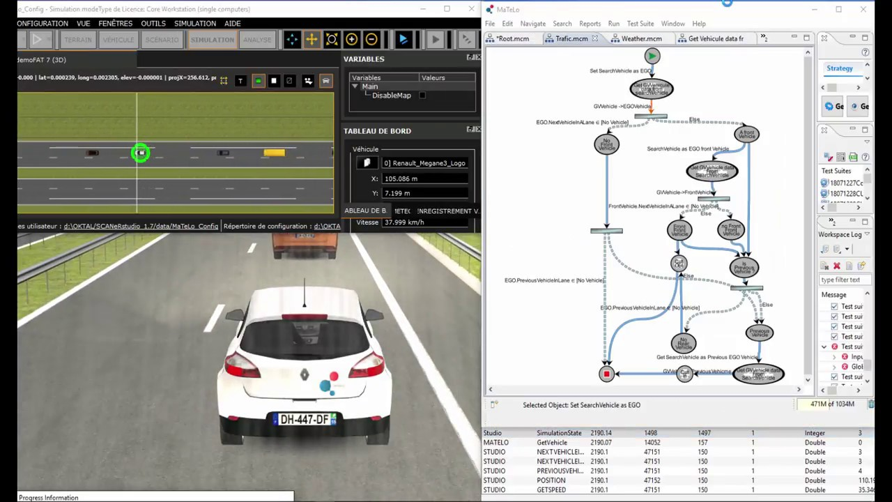 Autonomous Vehicle Simulation in a closed Model-Based Testing loop by  MaTeLo Model-Based Testing