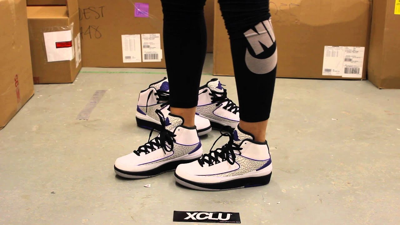 1152f477fe8bc3 ... GS Air Jordan 2 Retro - Dark Concord - On-feet Video at Exclucity ...