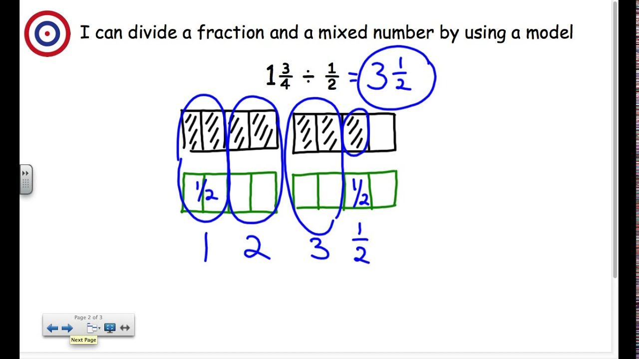 Divide mixed number by fraction using a model - YouTube