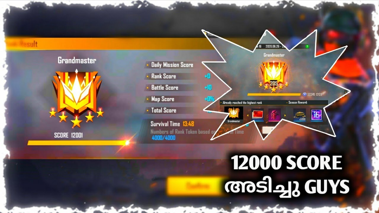 Grandmaster 12000 Score അടിച്ചു Guys ✌️✌️[ Free fire Malayalam ]