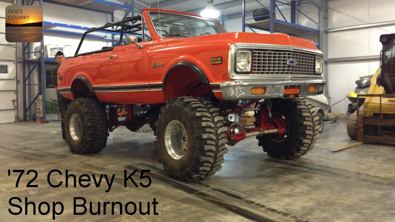 1972 Chevy K5 Blazer On 40 S Doing Burnouts Inside The Shop Youtube