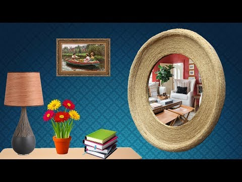 DIY Round Shape Wall Hanging Mirror Using Jute Rope & Cardboard – DIY Entryway Mirror