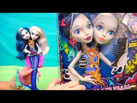 Juguetes en español - Muñeca sirena de dos cabezas de Monster High para peinados y maquillaje