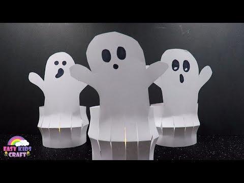 Easy Paper Halloween Craft | Paper Ghost Jack O Lantern