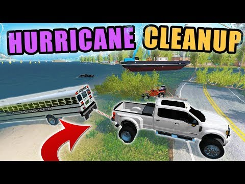 TOWING OUT  FROM DEVASTATING HURRICANE! CLEANUP TIME | FARMING SIMULATOR 2017