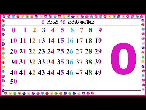 0 నుండి 50 వరకు అంకెలు, Numbers from 1 to 50 in Telugu, Learn 1 to 50  Numbers