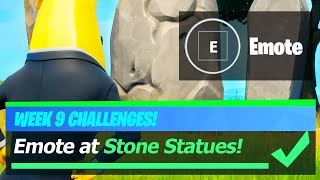 Emote at Stone Statues & All Stone Statue Locations (Fortnite Week 9)