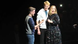 Adele brings fan with Adele tattoo on stage - Glasgow 25/03/16