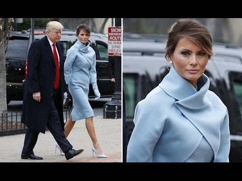 Melania Trump Is A Vision In Baby Blue Ralph Lauren As She Channels Jackie Kennedy An Elegant