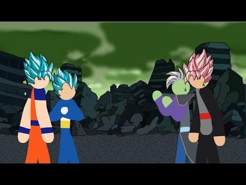 Goku and Vegeta VS Black and Zamasu Stick Fight!!