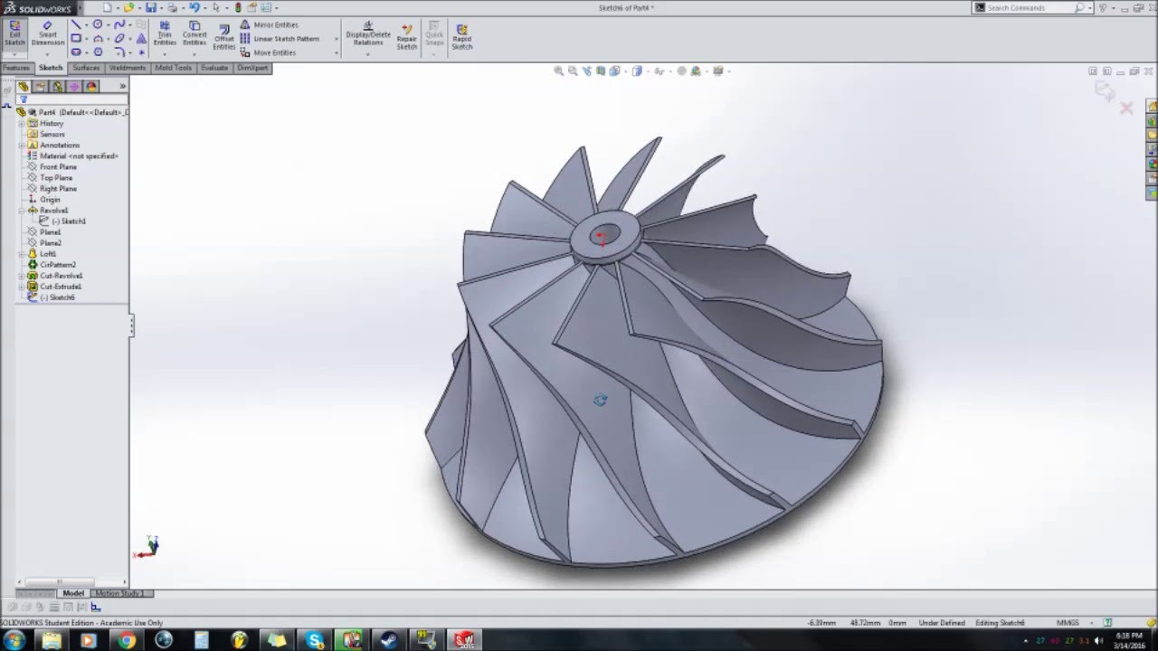How to draw a turbo compressor wheel in solidworks - YouTube