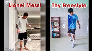 THY FREESTYLE tâng cuộn giấy như MESSI & Football Stars - Toilet Paper Challenge #StayHome #WithMe