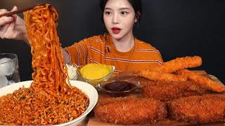 SUB)Cheese Roll Cutlet, Buldak Noodles and Deep-fried Shrimp Mukbang ASMR Korean Eating Sound