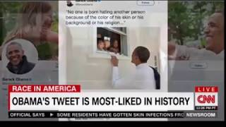 Obama's Tweet is most liked in history No one is born hating another person   Nelson Mandela