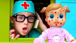 Five kids | Miss Polly Had A Dolly or Boo Boo Story with kids songs & nursery rhymes | Chiki-Piki