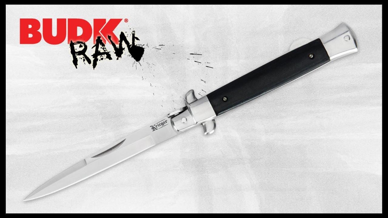 Kriegar German Stiletto Pocket Knife - Black Wood | BUDK com