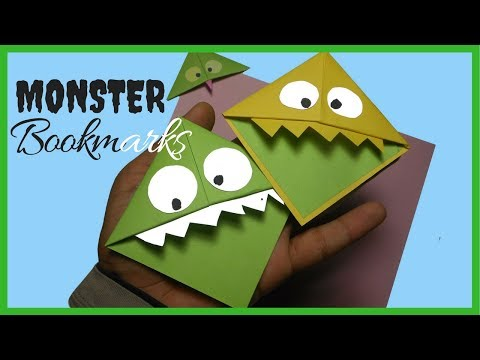 How To Make  Easy Paper Monster Bookmarks | DIY Origami Paper Corner Bookmarks