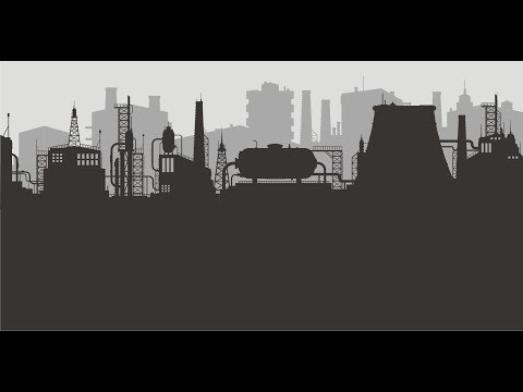 Drawing of Industrial skyline in Corel Draw