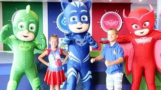 PJ MASKS In Real Life at the PJ Seeker Truck plus Tons of Ryans Toys Tic Tac Toy Mario Maker 2