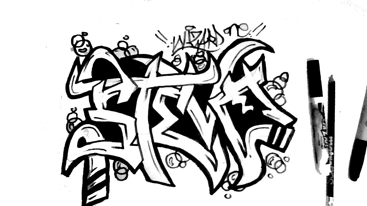 How To Draw Graffiti Name STEVE