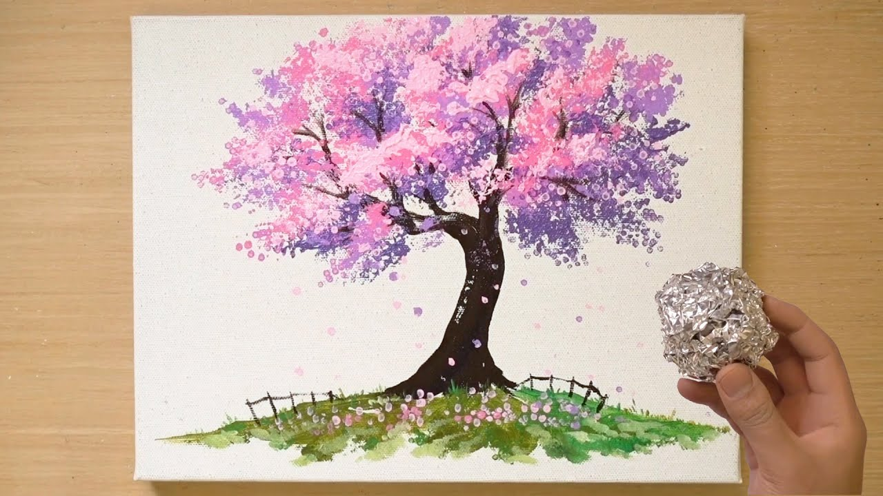 Download Aluminum painting technique | How to paint a cherry blossom tree