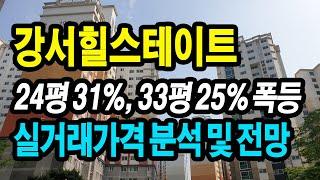 강서힐스테이트 24평 31%, 33평 25% 폭등 / …