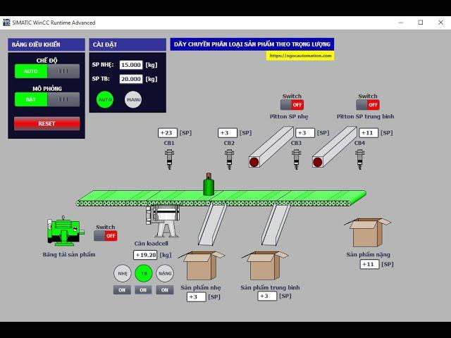 Hướng dẫn lập trình phân loại sản phẩm theo trọng lượng - Tia portal + PLC S7200