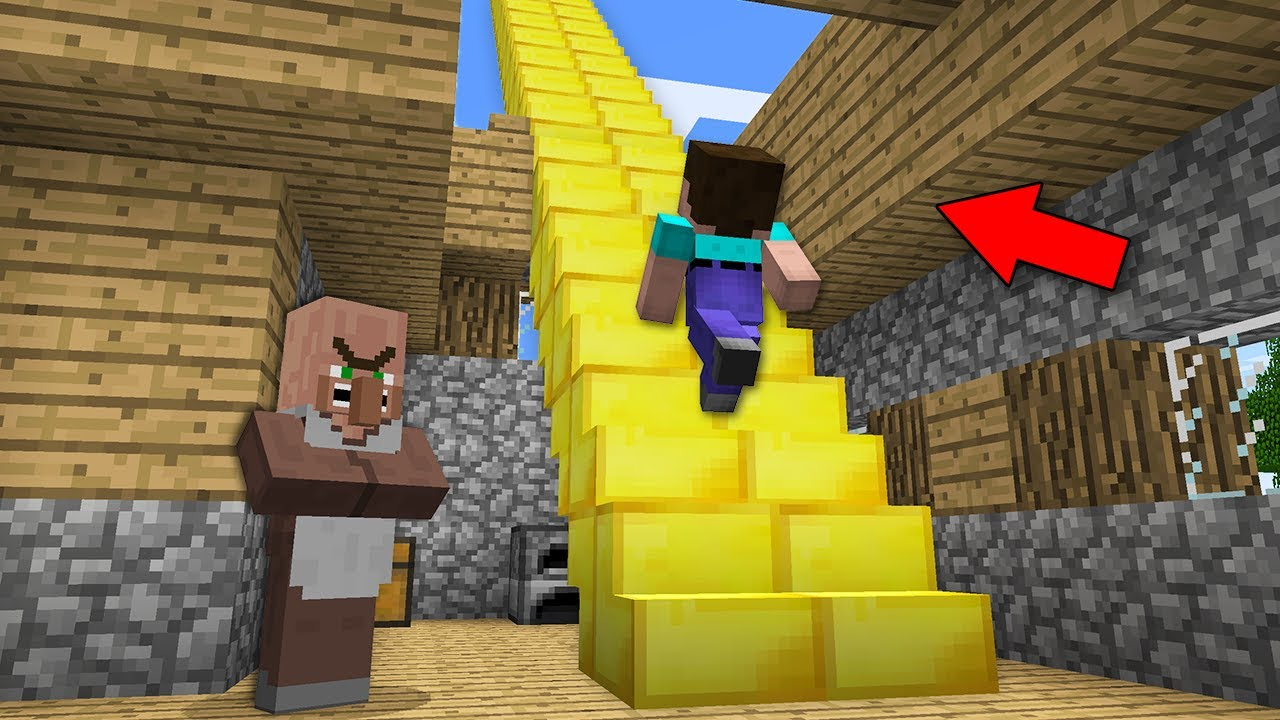 NOOB FOUND GOLD STAIRCASE IN VILLAGER HOUSE! Minecraft - NOOB vs PRO