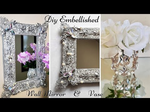 Diy Embellished Wall Mirror and vase Using Christmas Ornaments  Christmas Home Decor on a Budget