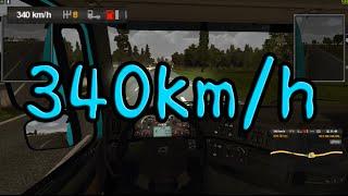 유로트럭 10000마력 슈퍼카 엔진모드!! 시속 340km/h 최고속도 도전!!