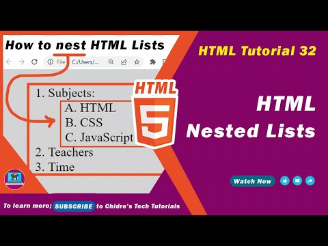 HTML Video Tutorial - 32 - Nesting Lists In Html