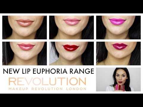 MAKEUP REVOLUTION LIP EUPHORIA RANGE: Try on and swatch!