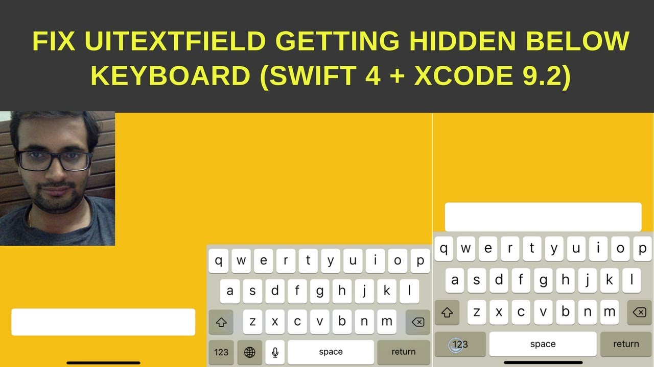 Fix UItextField getting hidden below keyboard (Swift 4 + Xcode 9 2)