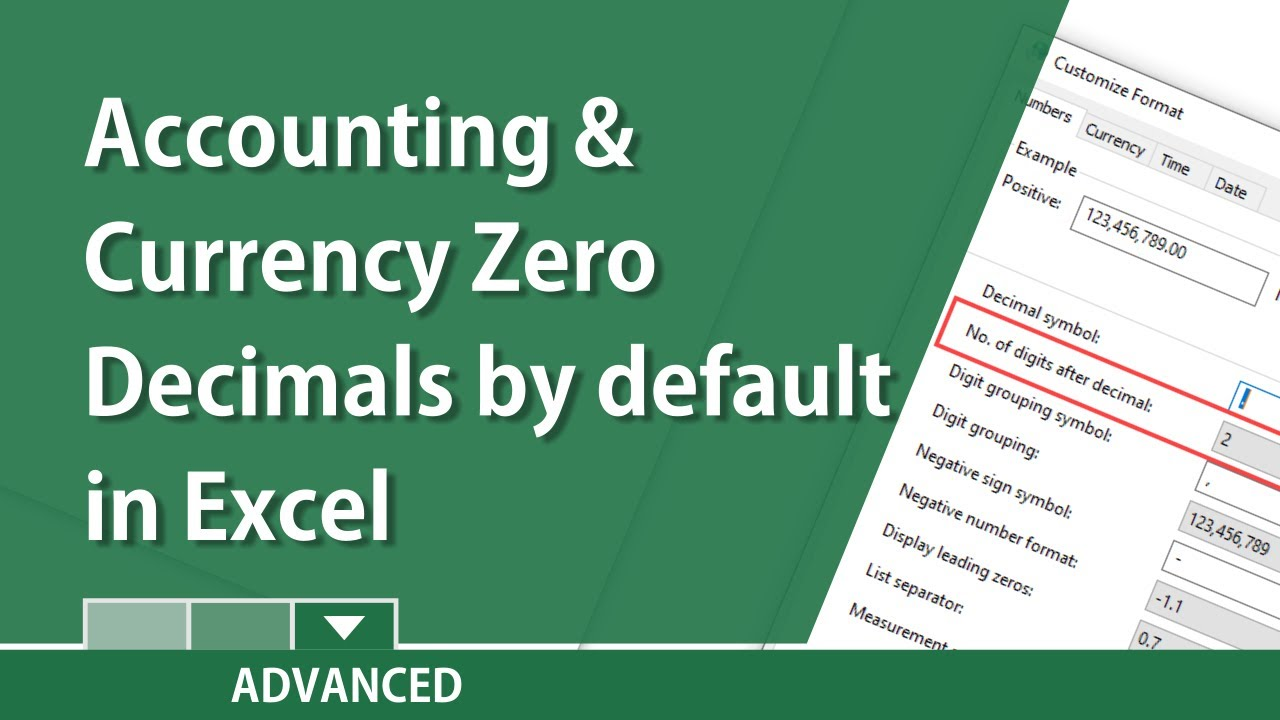 excel make accounting and currency zero decimal places by default