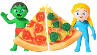 SUPERHERO BABIES PIZZA CHALLENGE ❤ SUPERHERO PLAY DOH CARTOONS FOR KIDS