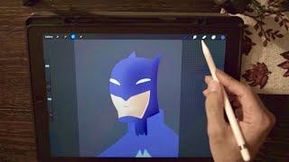 Drawing Batman in Procreate on the iPad Pro