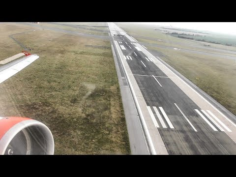 Airbus A320 Jet Engine. Startup and Take off. EasyJet at Prague Airport