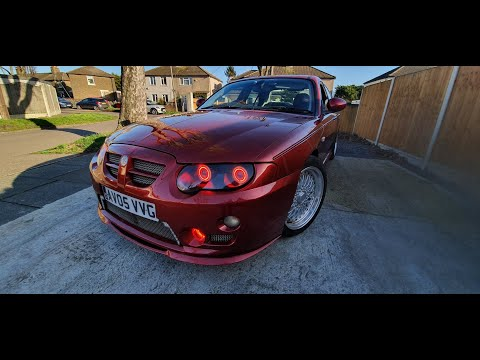 MG ZT CUSTOM HEADLIGHTS BI-XENON QUAD PROJECTOR WITH WHITE + AMBER AND RED ANGEL EYES DRLS