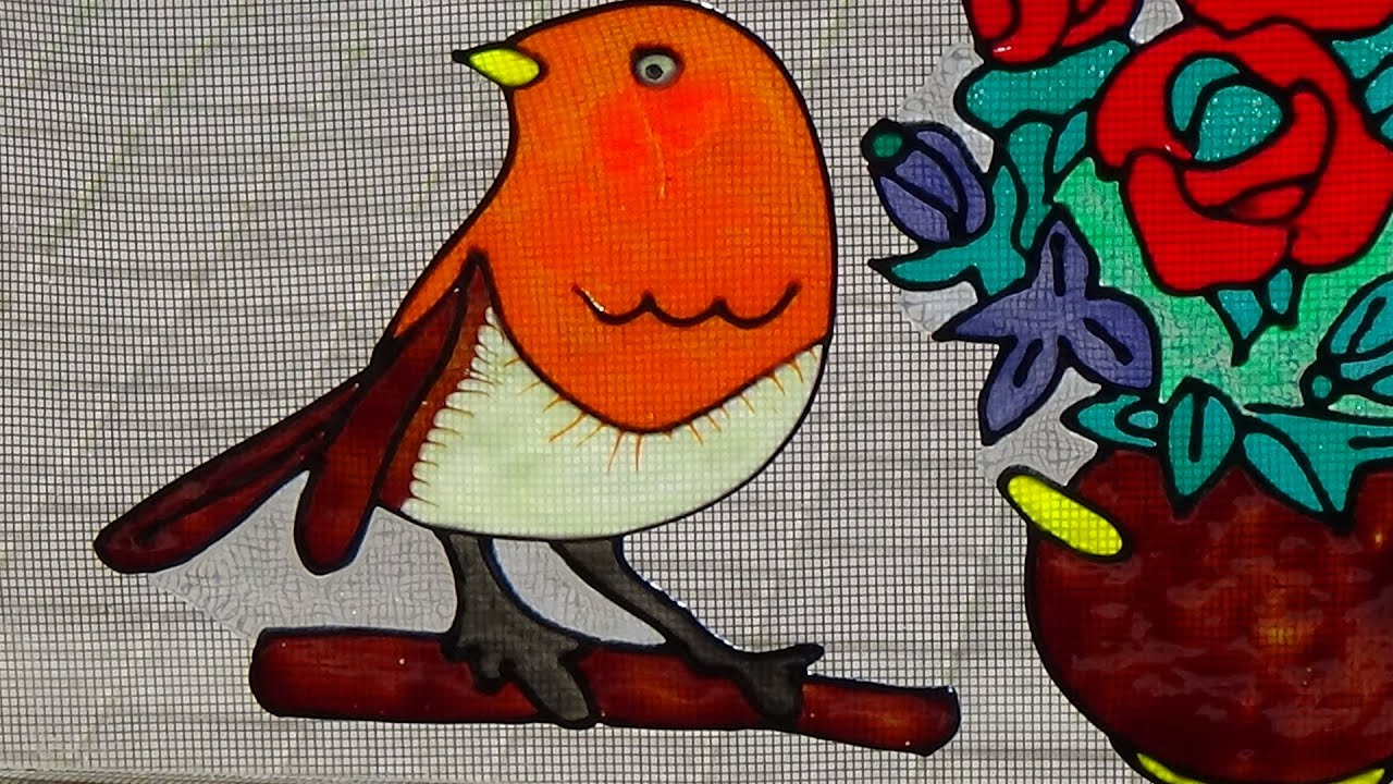 Glass Painting Bird Cam Boyama Kus Rospis Po Steklu Ptica