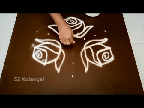 Simple Rose Kolam With 7 To 4 Interlaced Dots Youtube