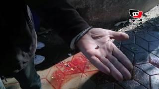 آثار حطام ودماء «شهداء الشرطة» في انفجار الهرم